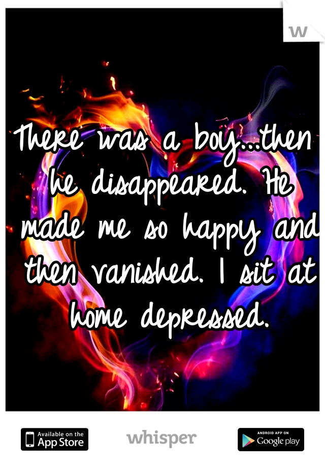 There was a boy...then he disappeared. He made me so happy and then vanished. I sit at home depressed.