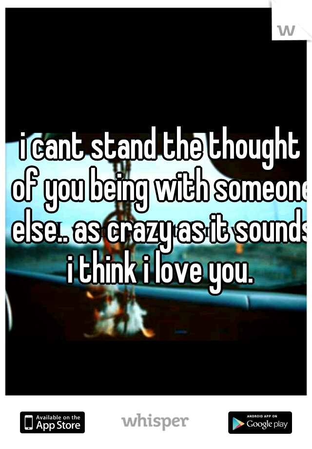 i cant stand the thought of you being with someone else.. as crazy as it sounds i think i love you.