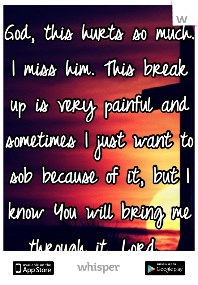 God, this hurts so much. I miss him. This break up is very painful and sometimes I just want to sob because of it, but I know You will bring me through it, Lord.