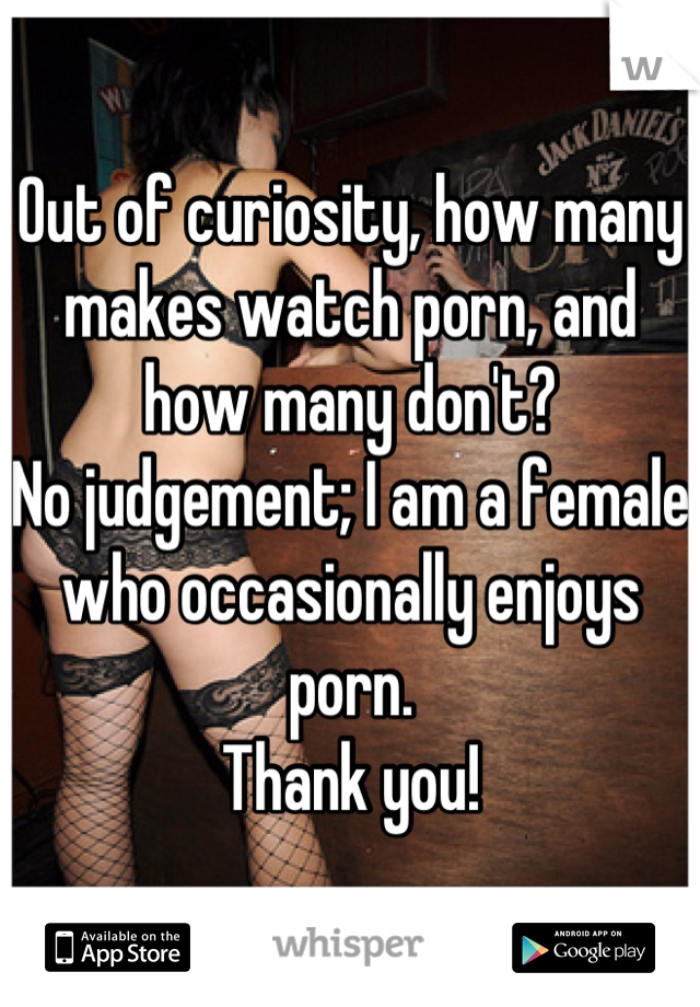 Out of curiosity, how many makes watch porn, and how many don't?   No judgement; I am a female who occasionally enjoys porn.   Thank you!