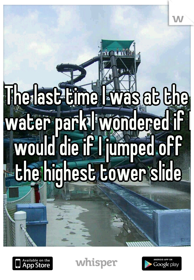 The last time I was at the water park I wondered if I would die if I jumped off the highest tower slide