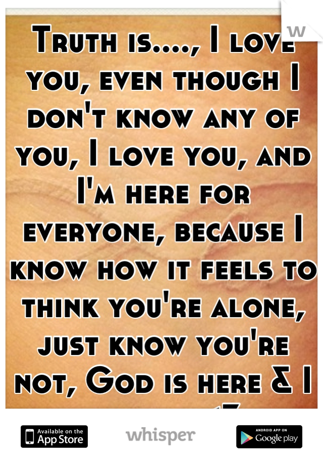 Truth is...., I love you, even though I don't know any of you, I love you, and I'm here for everyone, because I know how it feels to think you're alone, just know you're not, God is here & I am here<3