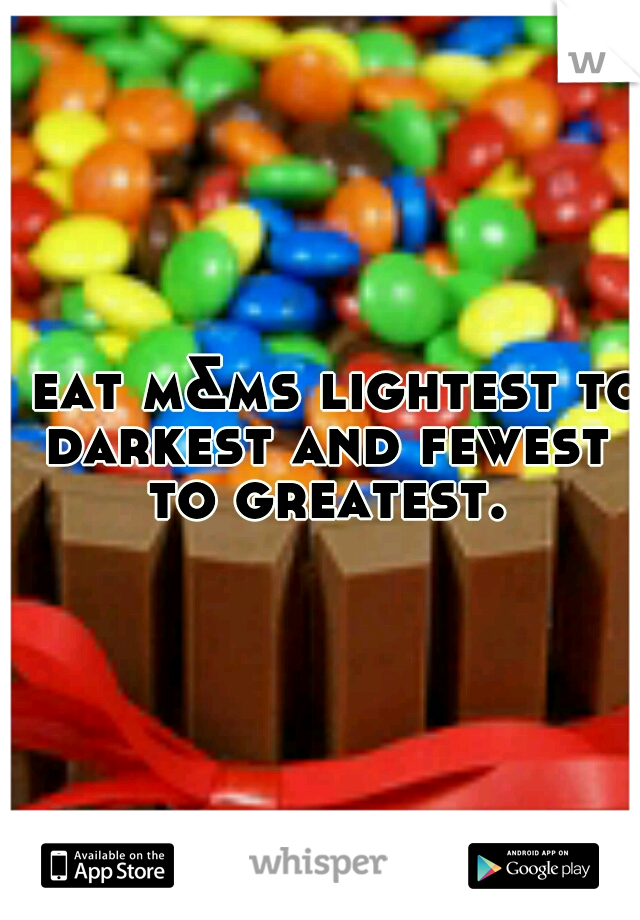 I eat m&ms lightest to darkest and fewest to greatest.