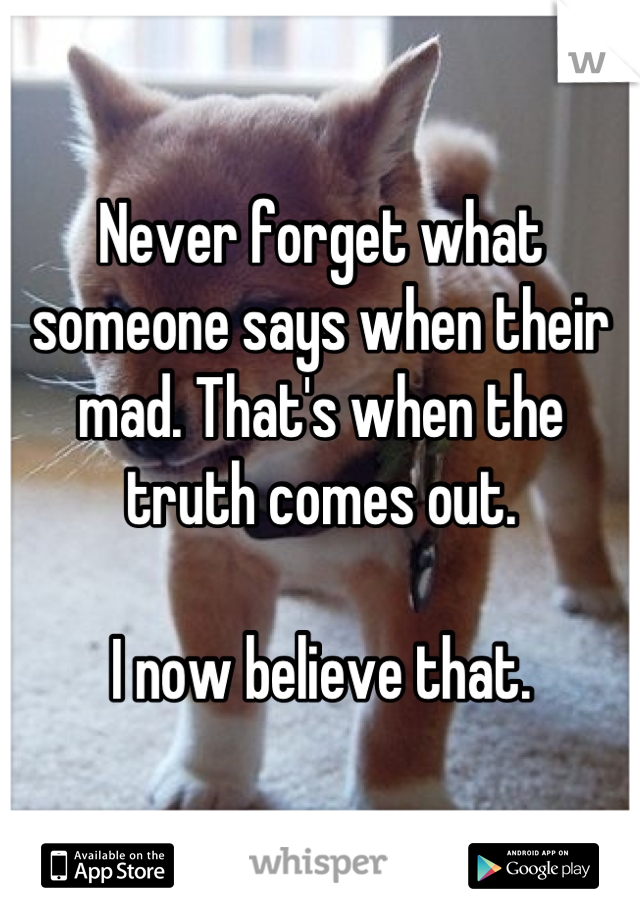Never forget what someone says when their mad. That's when the truth comes out.   I now believe that.