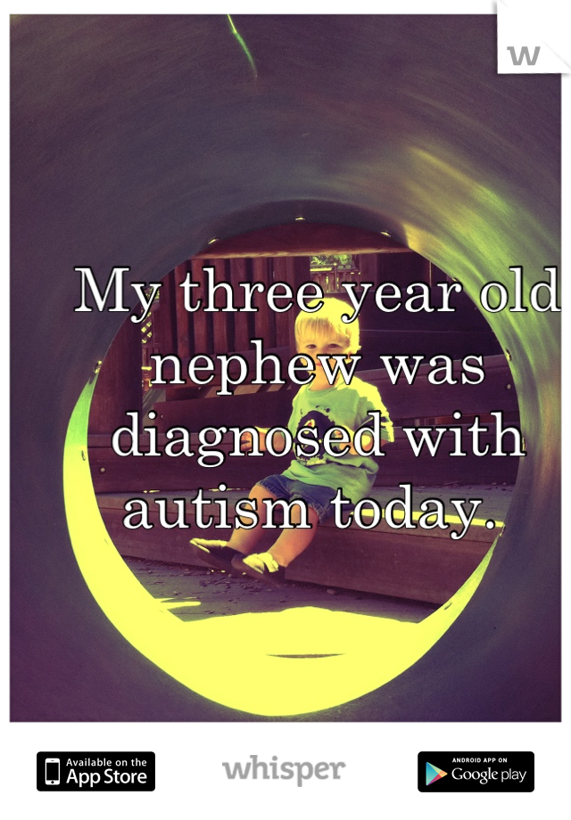 My three year old nephew was diagnosed with autism today.