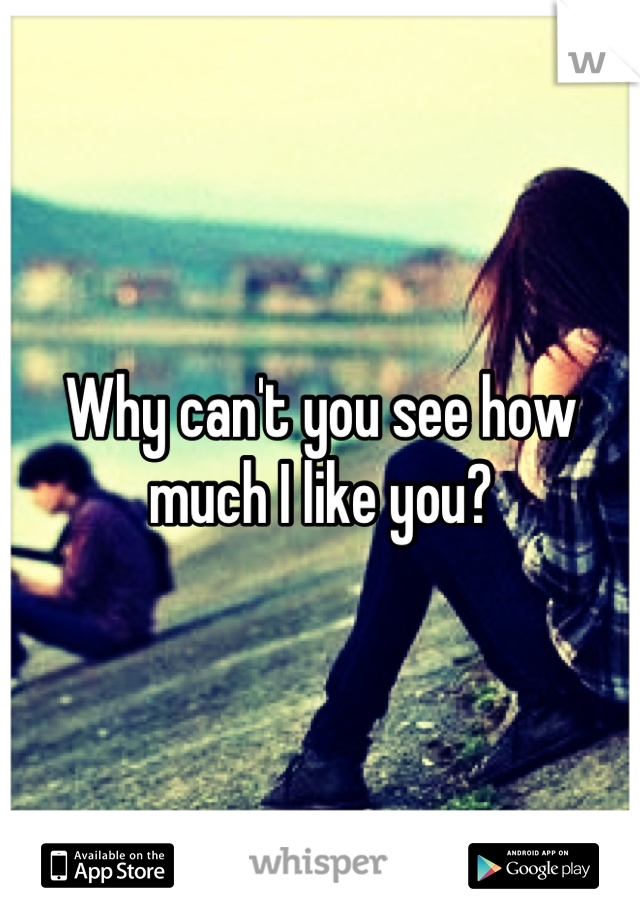 Why can't you see how much I like you?