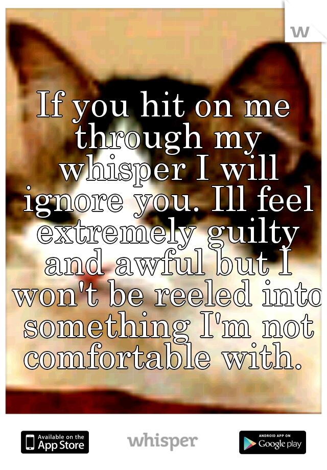 If you hit on me through my whisper I will ignore you. Ill feel extremely guilty and awful but I won't be reeled into something I'm not comfortable with.