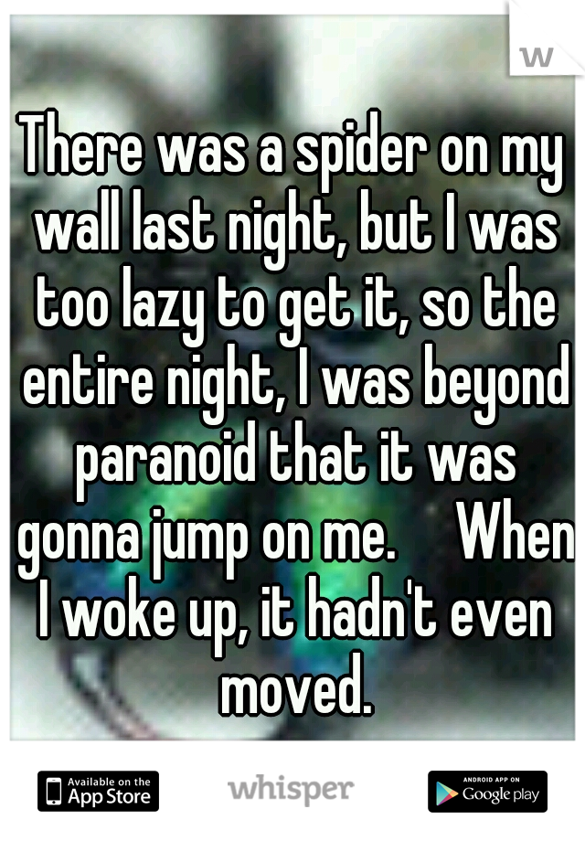 There was a spider on my wall last night, but I was too lazy to get it, so the entire night, I was beyond paranoid that it was gonna jump on me.  When I woke up, it hadn't even moved.