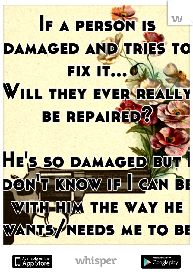 If a person is damaged and tries to fix it... Will they ever really be repaired?  He's so damaged but I don't know if I can be with him the way he wants/needs me to be sometimes...