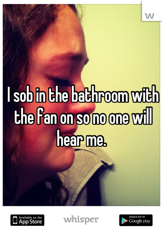 I sob in the bathroom with the fan on so no one will hear me.