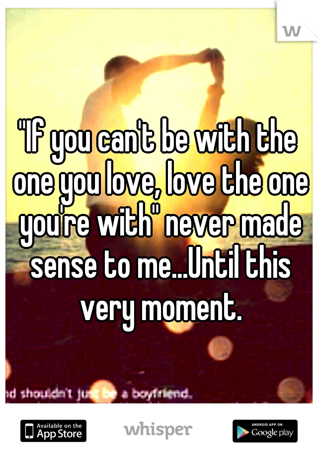 """""""If you can't be with the one you love, love the one you're with"""" never made sense to me...Until this very moment."""