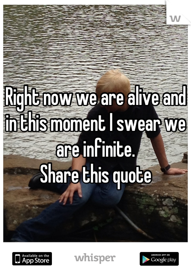 Right now we are alive and in this moment I swear we are infinite. Share this quote