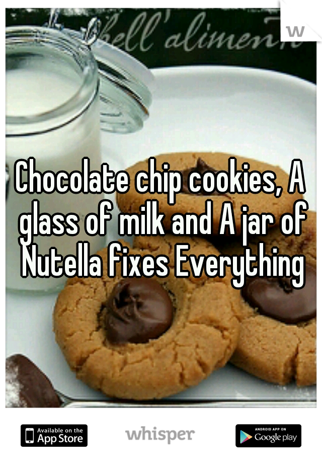 Chocolate chip cookies, A glass of milk and A jar of Nutella fixes Everything