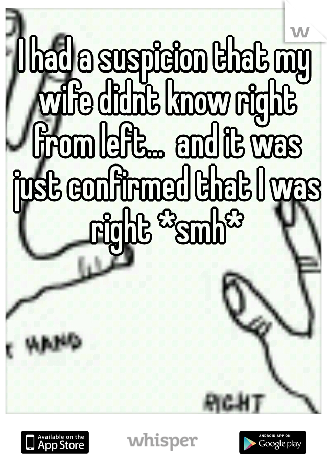 I had a suspicion that my wife didnt know right from left...  and it was just confirmed that I was right *smh*