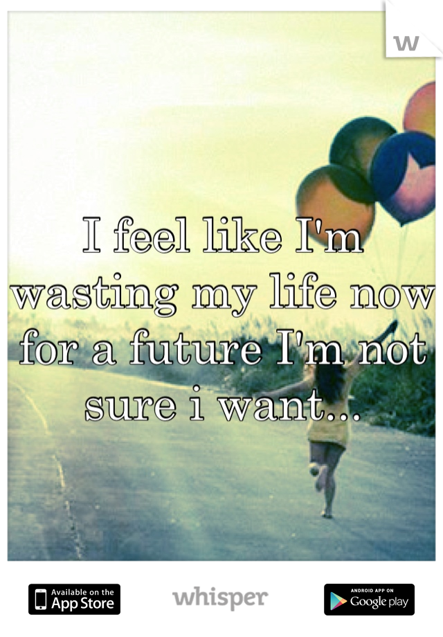 I feel like I'm wasting my life now for a future I'm not sure i want...