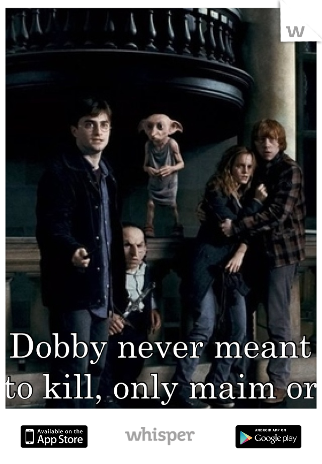 Dobby never meant to kill, only maim or seriously injure
