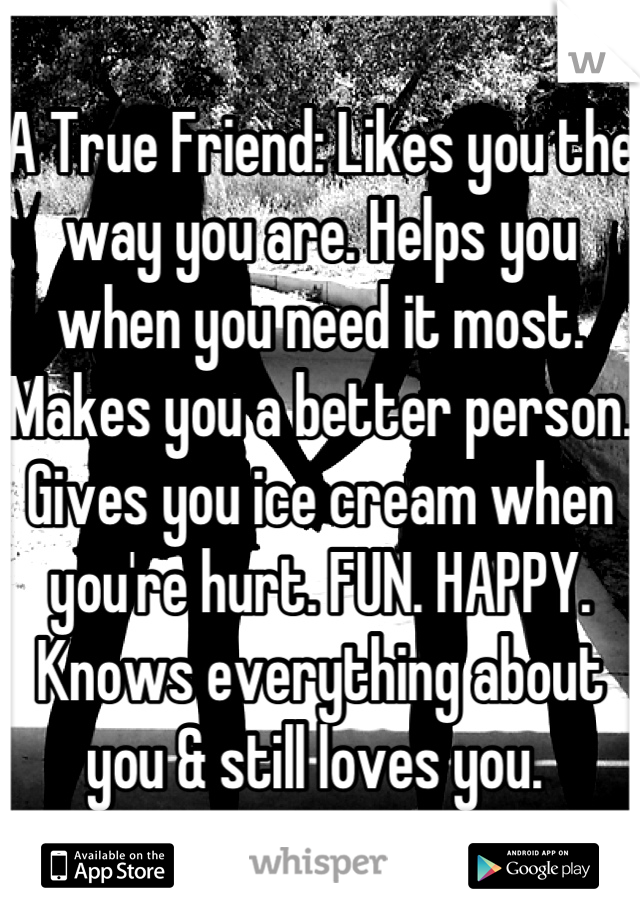 A True Friend: Likes you the way you are. Helps you when you need it most. Makes you a better person. Gives you ice cream when you're hurt. FUN. HAPPY. Knows everything about you & still loves you.