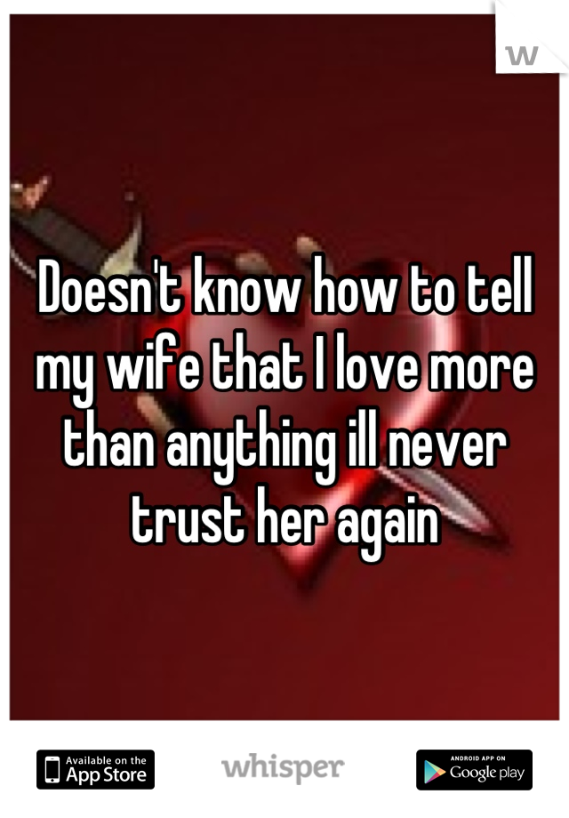 Doesn't know how to tell my wife that I love more than anything ill never trust her again