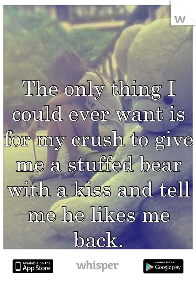 The only thing I could ever want is for my crush to give me a stuffed bear with a kiss and tell me he likes me back.