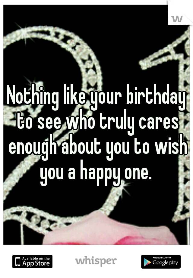 Nothing like your birthday to see who truly cares enough about you to wish you a happy one.