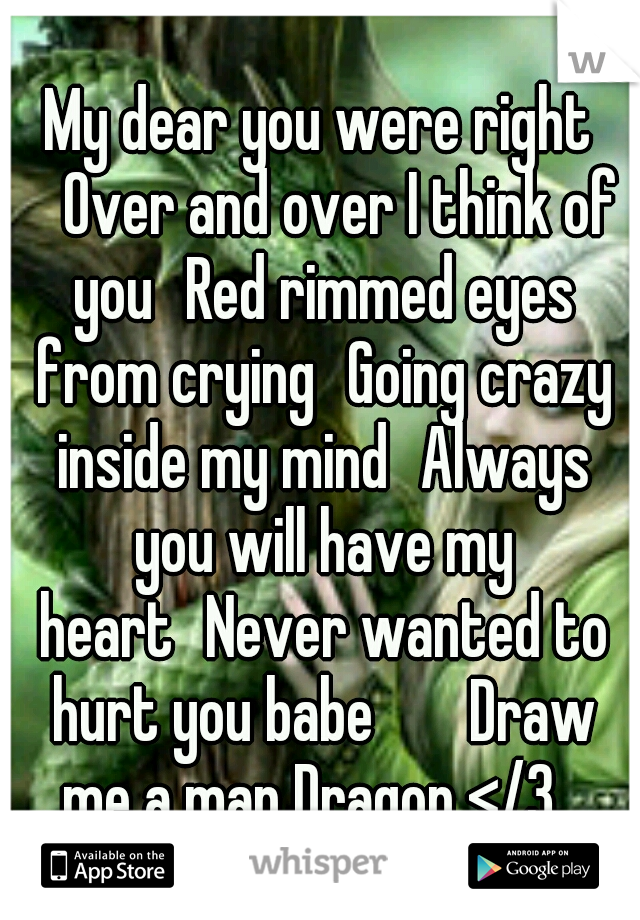 My dear you were right  Over and over I think of you Red rimmed eyes from crying Going crazy inside my mind Always you will have my heart Never wanted to hurt you babe   Draw me a map Dragon </3