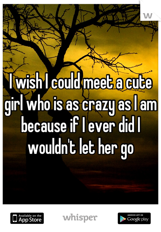 I wish I could meet a cute girl who is as crazy as I am because if I ever did I wouldn't let her go