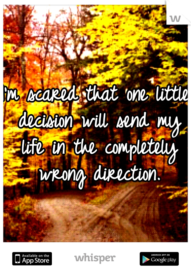 I'm scared that one little decision will send my life in the completely wrong direction.