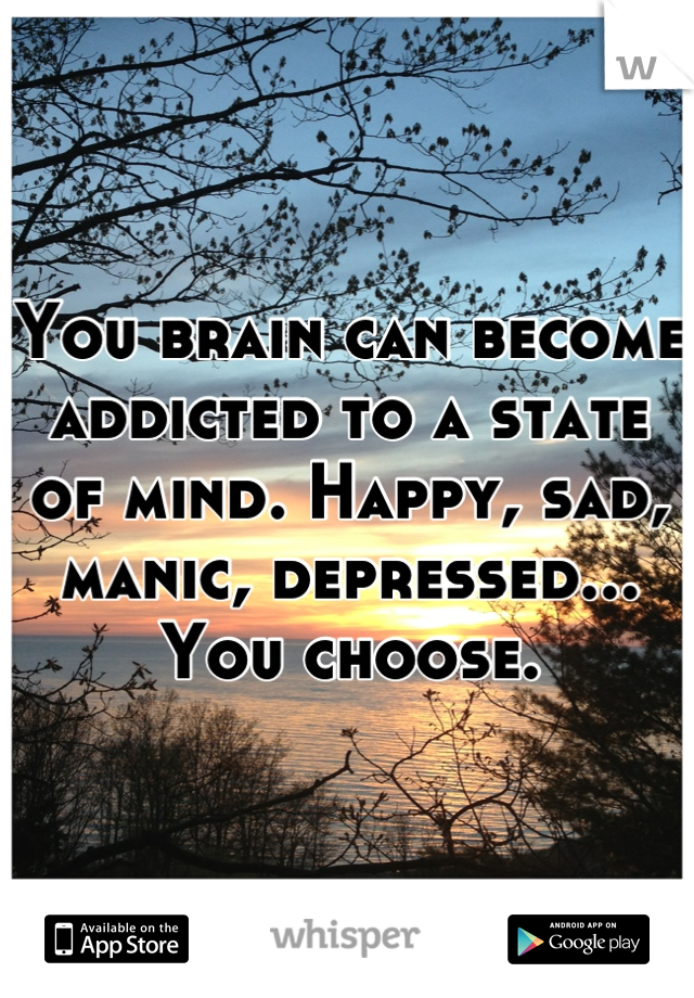 You brain can become addicted to a state of mind. Happy, sad, manic, depressed... You choose.