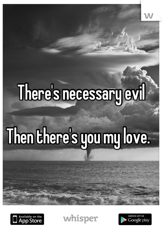 There's necessary evil  Then there's you my love.