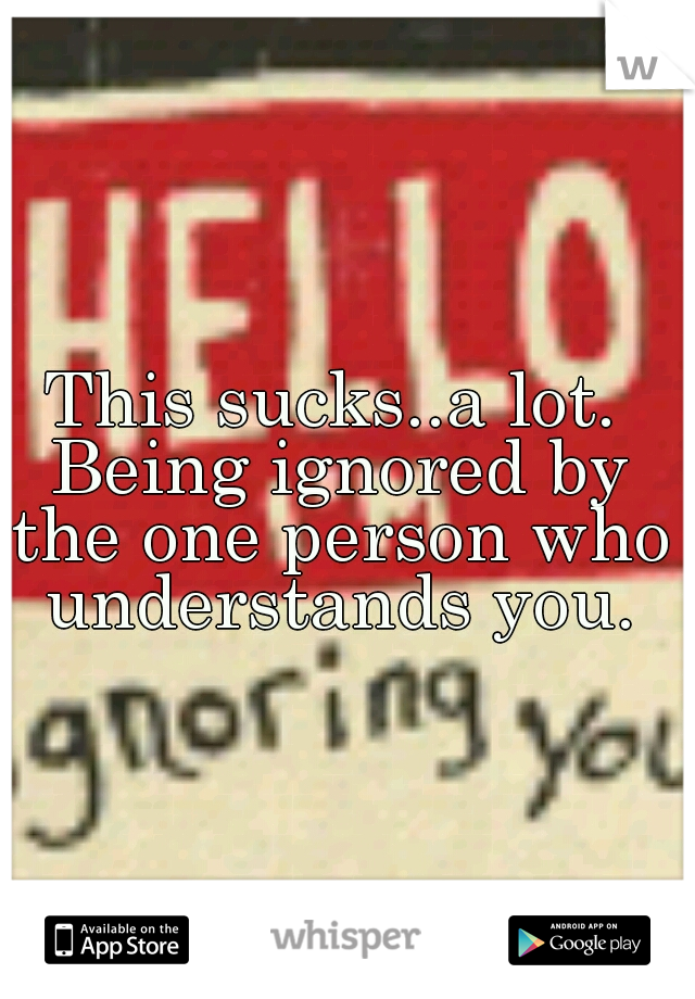 This sucks..a lot. Being ignored by the one person who understands you.