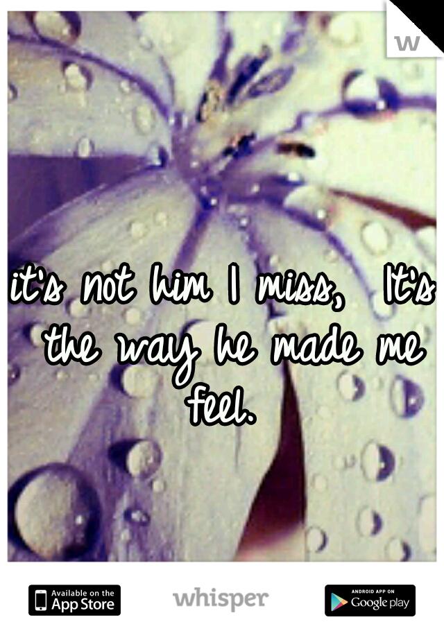 it's not him I miss,  It's the way he made me feel.