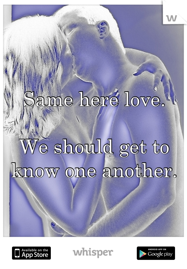 Same here love.  We should get to know one another.