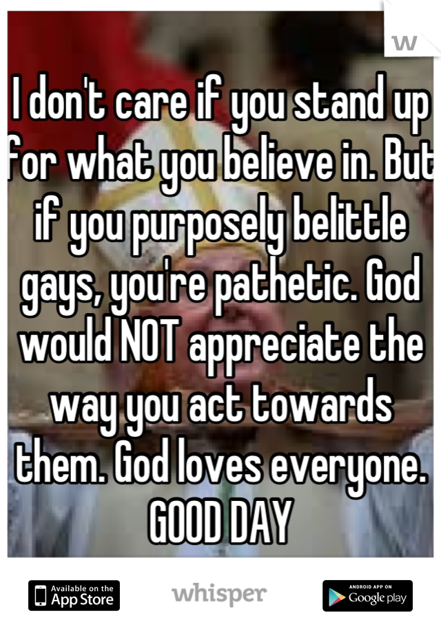 I don't care if you stand up for what you believe in. But if you purposely belittle gays, you're pathetic. God would NOT appreciate the way you act towards them. God loves everyone.  GOOD DAY