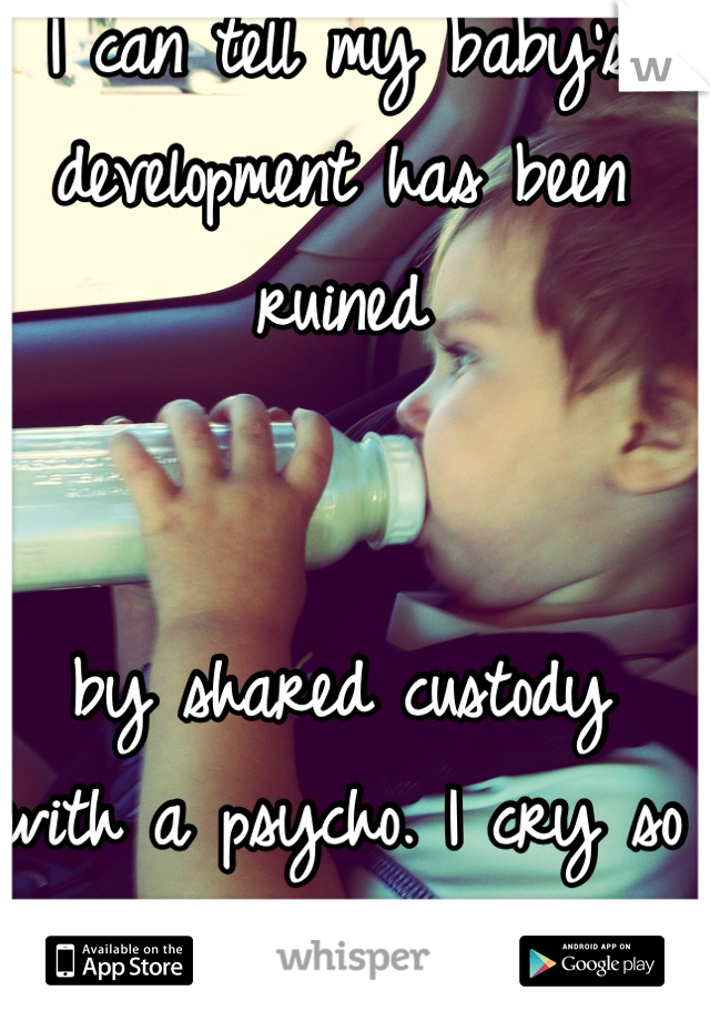 I can tell my baby's development has been ruined    by shared custody with a psycho. I cry so often. I feel helpless.