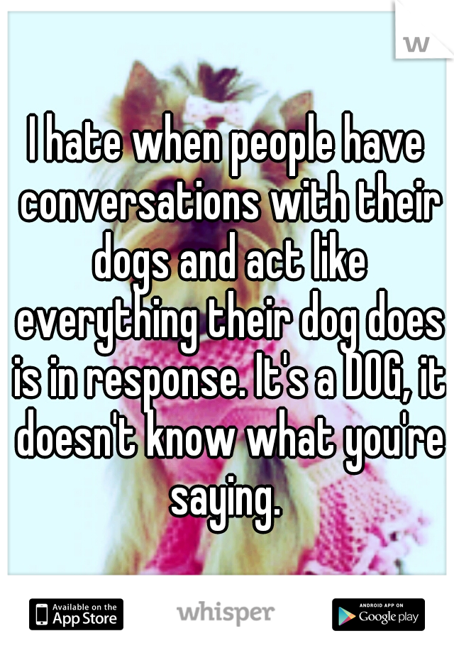 I hate when people have conversations with their dogs and act like everything their dog does is in response. It's a DOG, it doesn't know what you're saying.