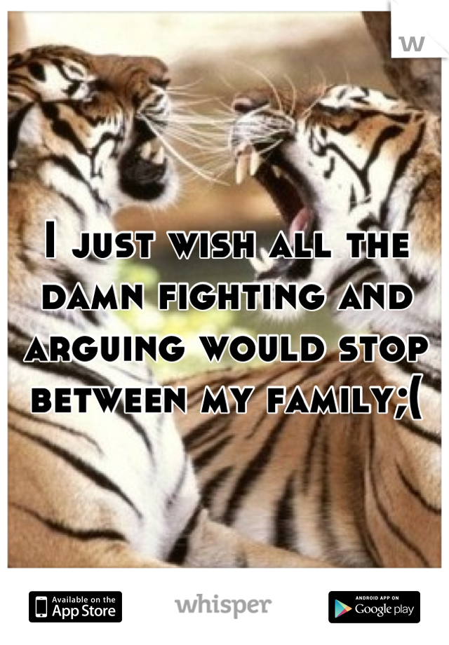 I just wish all the damn fighting and arguing would stop between my family;(