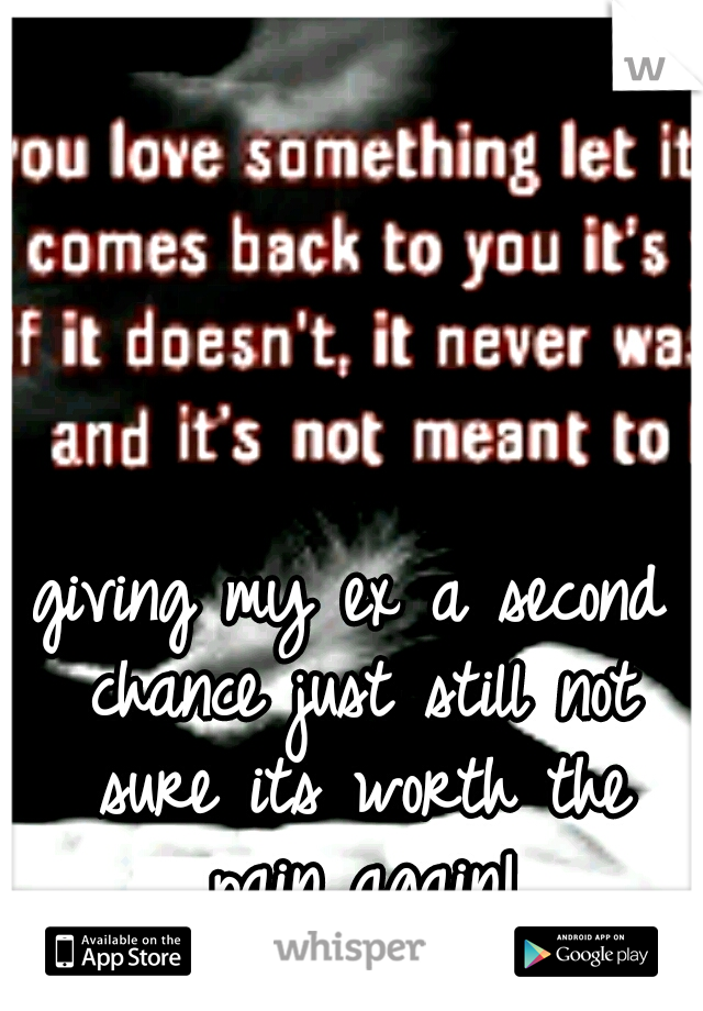 giving my ex a second chance just still not sure its worth the pain again!