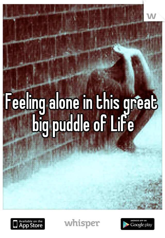 Feeling alone in this great big puddle of Life