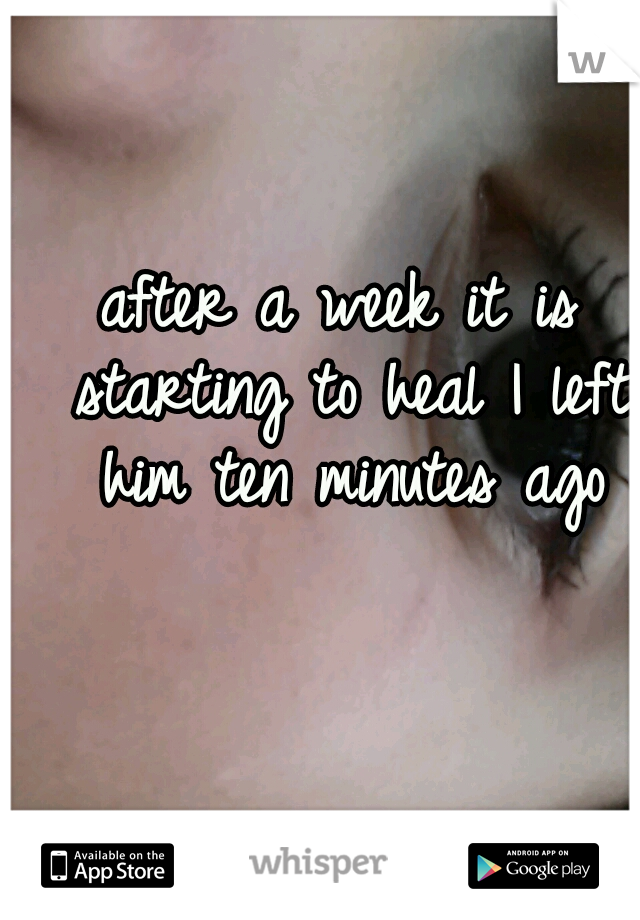 after a week it is starting to heal I left him ten minutes ago
