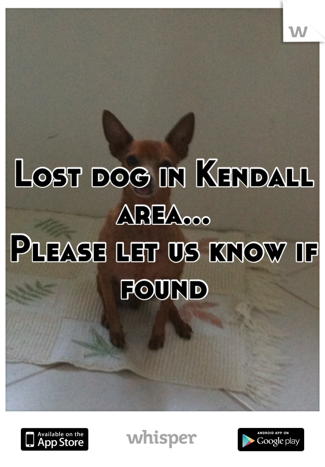 Lost dog in Kendall area... Please let us know if found