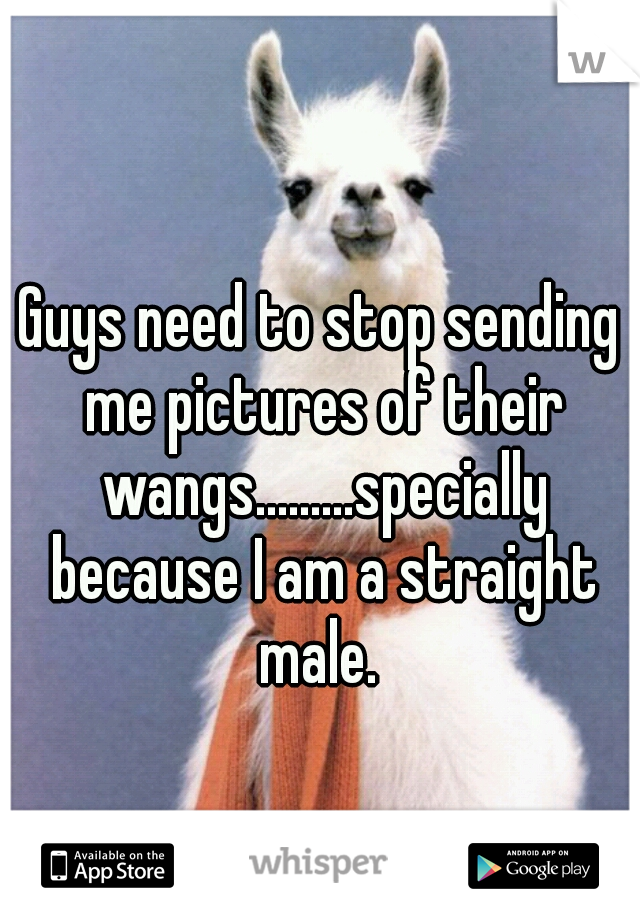 Guys need to stop sending me pictures of their wangs.........specially because I am a straight male.