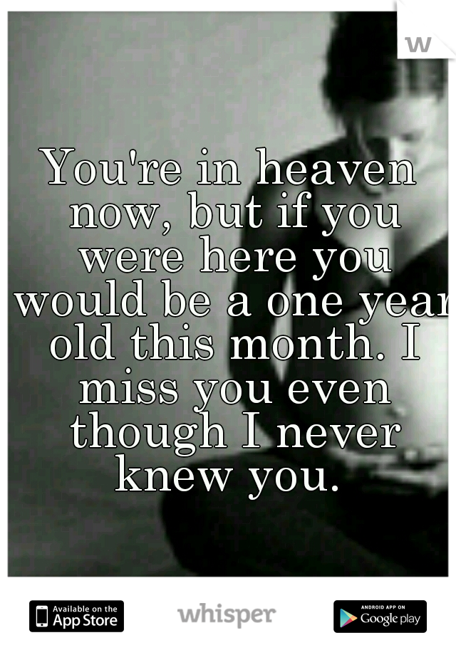 You're in heaven now, but if you were here you would be a one year old this month. I miss you even though I never knew you.