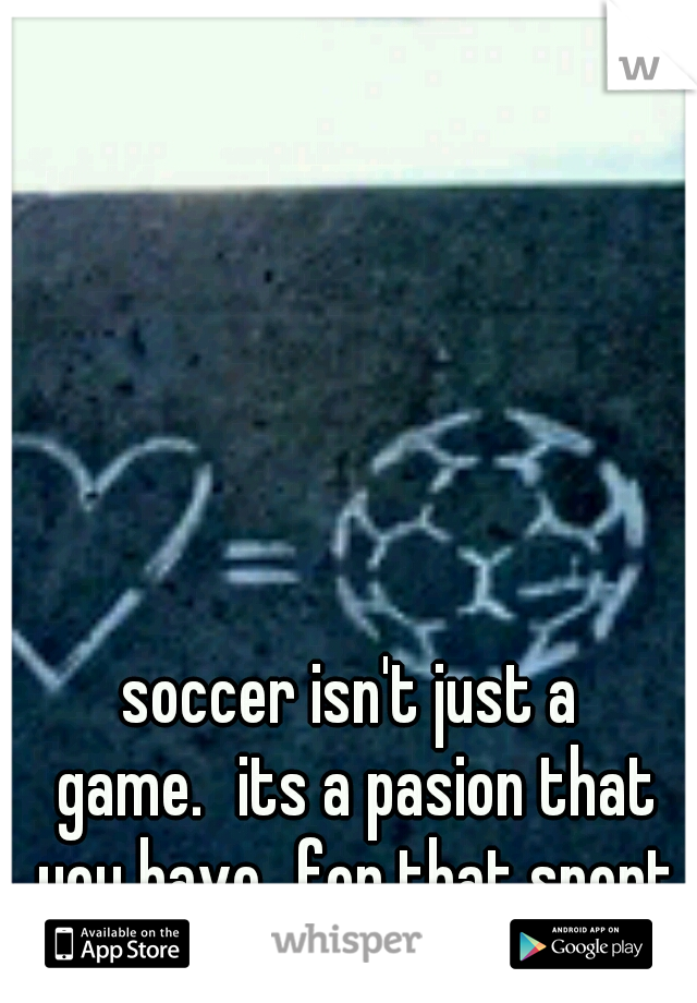 soccer isn't just a game. its a pasion that you have for that sport