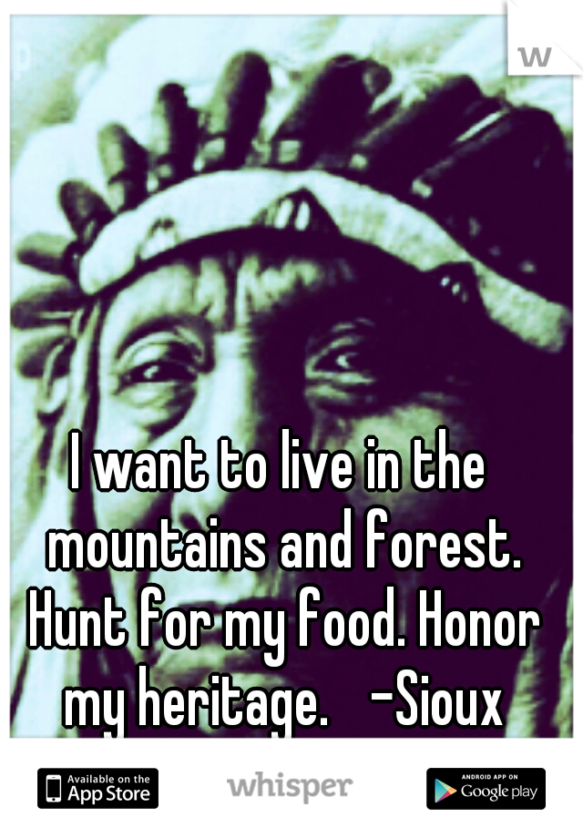 I want to live in the mountains and forest. Hunt for my food. Honor my heritage.  -Sioux Lakota