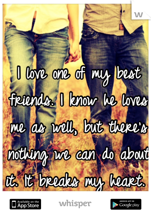 I love one of my best friends. I know he loves me as well, but there's nothing we can do about it. It breaks my heart.