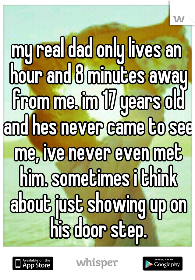my real dad only lives an hour and 8 minutes away from me. im 17 years old and hes never came to see me, ive never even met him. sometimes i think about just showing up on his door step.