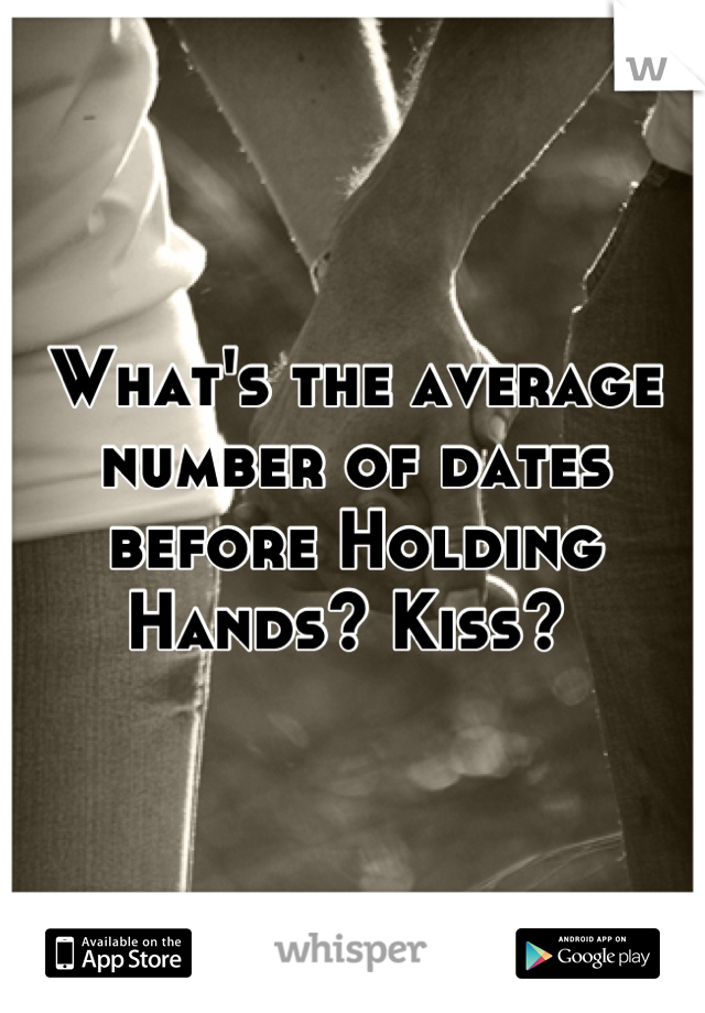 What's the average number of dates before Holding Hands? Kiss?
