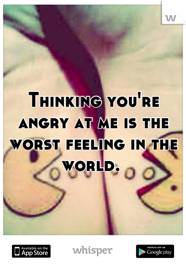 Thinking you're angry at me is the worst feeling in the world.