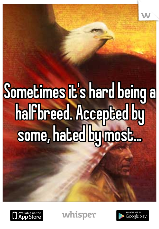 Sometimes it's hard being a halfbreed. Accepted by some, hated by most...