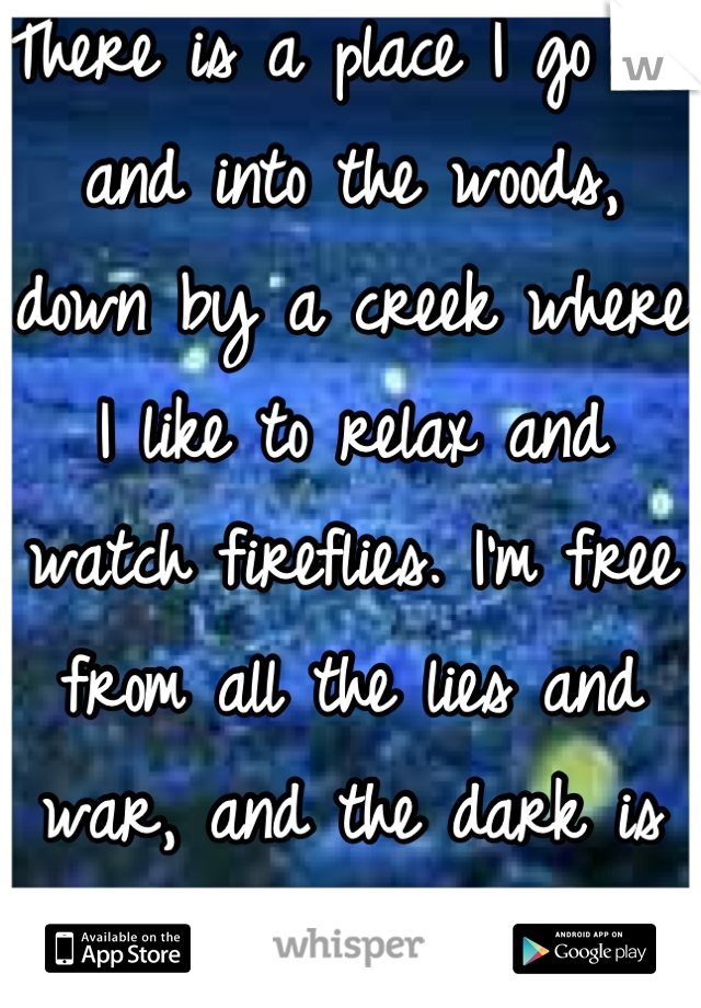 There is a place I go out and into the woods, down by a creek where I like to relax and watch fireflies. I'm free from all the lies and war, and the dark is my light.